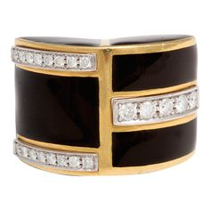 David Webb diamond black enamel & yellow gold ring