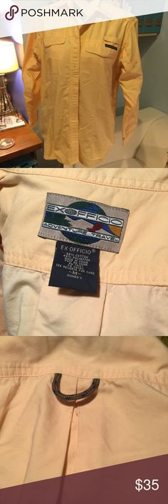 Butter Yellow ExOfficio Travel Shirt 🐝🐝🐝🐝🐝🐝 Vented travel Shirt, poskets, all the extra features ExOfficio is known for. Exofficio Tops Button Down Shirts