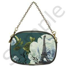 Blue+roses+vintage+Paris+Eiffel+Tower+floral+fashion+decor+Chain+Purse+(Two+Sided)+