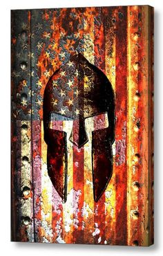 American Flag & Spartan Helmet on Rusted Metal Vertical Print on Canvas - Molon Labe