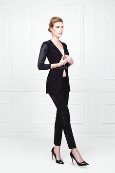 Black Pant Suit - Cigarette Pants and Blazer