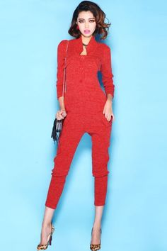 #Standing Collar Red Knitted Jumpsuit  Jumpsuits and Playsuits   www.2dayslook.com  #playsuits  #jumpsuits  #nice #2dayslook