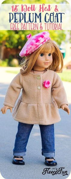 Adorable 18 Inch Doll Peplum Coat and Hat FREE Pattern! This adorable 18 Inch Doll Peplum Coat and Hat is a free pattern that is the perfect way to dress up your American Girl Doll. Easy Sewing project with great step by step pictures to make is easy. American Girl Outfits, Ropa American Girl, American Doll Clothes, My American Girl Doll, American Girl Doll Pictures, Doll Dress Patterns, Doll Sewing Patterns, Free Doll Clothes Patterns, Sewing Doll Clothes