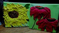 """Acrylic Floral Pair,Gallery Wrapped,Penny Hunt,Sunflower Coneflower   Set of two 4"""" X 4"""" X 1 1/2"""" Gallery wrapped canvas mini paintings, back stapled.  Magenta coneflower and creamy yellow sunflower t"""