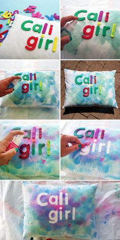 I like this because it is something my daughter could do to update her room. Kid craft  DIY Basics: 3 Easy Ways to Add Type to Pillows   Brit + Co. #diyshirtstiedye