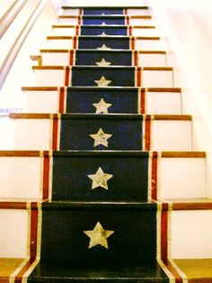 """Create a unique Americana focal point you'll love year-round with this DIY project--""""A Patriotic Painted Stair Runner"""" Painted Stairs, Painted Floors, Stenciled Stairs, Wooden Stairs, Paint Runner, Wallpaper Stencil, Stencil Diy, Stenciling, Basement Stairs"""