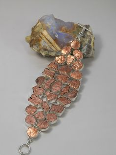 "Stunning Handmade Native Copper nugget mosaic bracelet, with 29 organic-shaped copper stones, bezel-set in 925-hallmarked sterling silver, pairs nicely with matching necklace. Length: 7-8.5"" Adjustabl"
