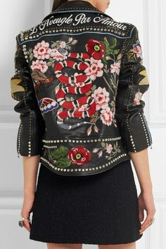 Gucci Hand-Painted Leather Biker Jacket 4