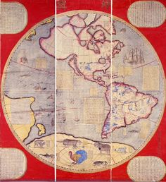 Western hemisphere, from Map of the World in Chinese, from Western models. Eight scrolls. Compiled by  Ferdinad Verbiest. 1674.  From the collection of Kobe City Museum, Japan.