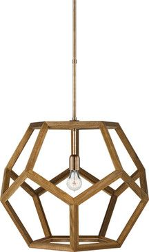 Large Dustin Dodecahedron Wood Pendant modern-pendant-lighting