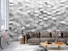 2020 Modern wallpaper in the interior - features, types and new techniques in the design - New Decor Trends Decor, 3d Wall Decor, Wall Wallpaper, Wall Decor, Interior, Wall Murals, Interior Walls, Modern Interior, Wall Design