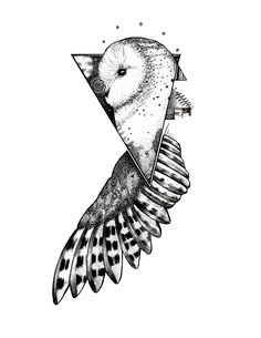 Geometric Owl Blackwork tattoo. Pen and Ink on Bristol.
