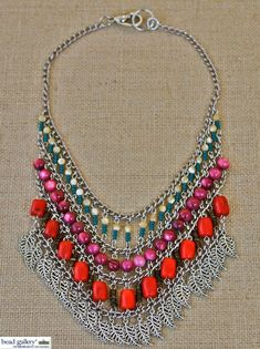 DIY Color Challenge Chain and Beads Necklace