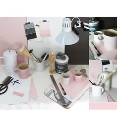 A soft palette of subtle shades of pink, pairs beautifully with moody Dark Onyx (Essential Collection to create a calm and inviting relaxation corner. Coffee Break, House Painting, South Africa, Shades, Create, Instagram Posts, Pink, Palette, Corner
