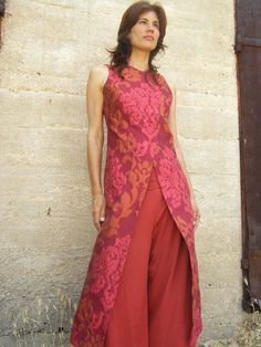 Tailored elegant women's dress-The WOMAN WARRIOR dress-Evening wear-Floral Womens tailored dress in red -Maxi dress-custom order. via Etsy.