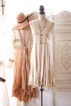 M L beige Boho sundance dress Hippie chic by TrueRebelClothing