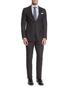 Isaia Super 160s Wool Birdseye-Stripe Two-Piece Suit, Gray