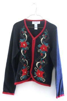 Ugly Christmas Sweater Cardigan Women Petite Large Sparkle Poinsettia Beaded