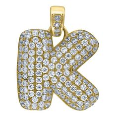 """Yellow Gold Iced Out Cubic Zirconia Mens Womens Bubble Initial Letter """"K"""" Charm PendantItem Number - from Yellow GoldWidth: inches ; Length: inchesGift box Yellow Gold Iced Out Cz Mens Womens Bubble Initial Letter """"K"""" Charm Pendant Letter K, Initial Letters, Holiday Gifts For Men, Letter Pendants, Bubbles, Charmed, Yellow, Metal, Accessories"""