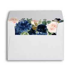 Chic Floral | Romantic Navy Blush Garland Envelope #preprinted #return #address #dusty #floral #Envelope #floral #wedding #envelope #mailing #weddinginvitation #weddingstationery Blue Wedding Invitations, Wedding Stationery, Dusty Blue Weddings, Pastel Weddings, 10 Envelope, Custom Printed Envelopes, Floral Garland, Pastel Floral, Muted Colors