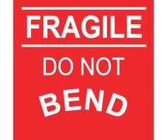 Labels, SHIPPING AND PACKING, FRAGILE DO NOT BEND, 4X4, PS PAPER, 500/ROLL