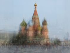 Corinne Vionnet; based in Switzerland; collects images from around the internet and combines hundreds of snapshots of tourist locations to form her works; evoking hazy memories and shared experiences in her series Photo Opportunities image: Moskva, from the series Photo Opportunities 2005-2012 Taj Mahal, Photo Sharing Sites, St Basils Cathedral, Mont Fuji, St Basil's, Photo Layers, Multiple Exposure, Double Exposure, Modern Metropolis