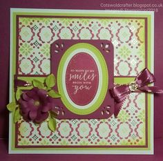 Detailed With Love Stampin'Up! stamp set used to create patterned paper and I then designed the rest of the card around the background. Berry Burst & Lemon Lime Twist ink and card, Trio Punch used to round corners and add pretty details, also used to create Ribbon Threading Holes in border. Another sneek peek is the little Metallic flower on my bow, so pretty! Full description on my blog Cotswoldcrafter.blogspot.co.uk