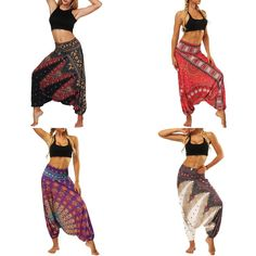 Aladdin's Harem Pants  Perfect for Yoga One Size Fits All 4 Interesting Color Combos High Elastic Waist Cotton Stretch Blend Comfortable Wide Legs  Site: www.workingwhatnot.com Wide Legs, Boho Pants, Aladdin, One Size Fits All, Color Combos, Elastic Waist, Harem Pants, Yoga, Fitness