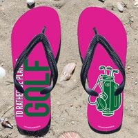 Id Rather Be Playing Golf on Pink Flip Flops - Kick back after a round with these great flip flops! Fun and functional flip flops for all golfers and fans.
