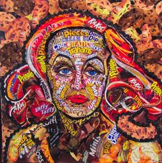 candy artwork | Ms Davis..Candy Wrapper Collage on Canvas.. 14x14 Sweet Wrappers, Candy Wrappers, Sweets Art, Art Education, Word Art, Paper Cutting, Fashion Art, Art Gallery, Canvas