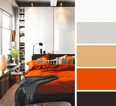 Some good thoughts in here, with tweaking, to help me come up with my bedroom wall color (to go with my mustard, gray, green bedding). Maybe a coral or an orangey red? Bedroom Wall Colors, Bedroom Color Schemes, Bedroom Decor, Design Bedroom, Bedroom Orange, Beautiful Bedrooms, House Colors, Colorful Interiors, Color Inspiration