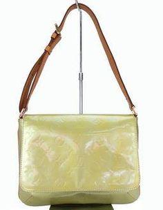 Authentic Louis Vuitton Green patent leather shoulder bag
