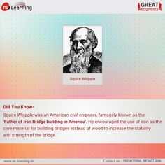 """Squire Whipple was an American Civil Engineer,famously known as the """"Father of Iron Bridgebuilding in America. .#didyouknow #greatengineers"""