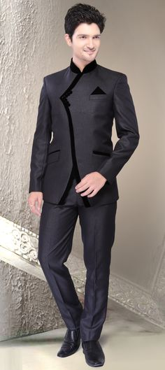 501204: Black and Grey color family Jodhpuri Suit.