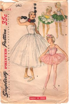Simplicity 4863 1950s Girls Ballet Ballerina Costume Hat and Ruff Pattern Childs Vintage Sewing Pattern Size 8 Breast 26