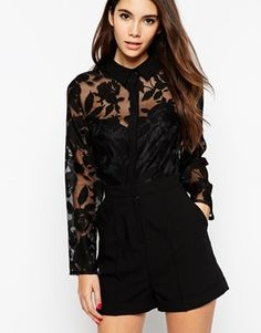 ASOS Playsuit with Sheer Flower Blouse - Black