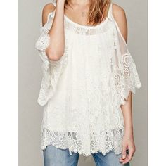 White Sheer Floral Lace Crochet Loose Long Tunic Top Blouse Loose Fitting (White-See Measurments) featuring polyvore fashion clothing tops tunics silver women's clothing long white shirt long tunics 3/4 sleeve shrug white lace shirt 3/4 sleeve shirts
