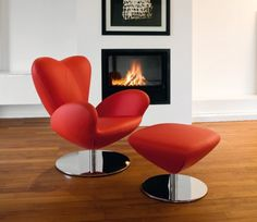 Bold Red Swivel Chair for Living Room