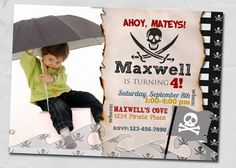 Little Pirate Birthday Invitation SALE by elenasshop on Etsy, $13.00