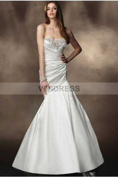 Trumpet/Mermaid Chapel Train Strapless Satin Fabric Wedding Dresses 2015 with Beading Style 5430203 http://www.vividress.co.uk/wedding-dresses-2015-style-5430203.html