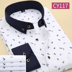 Men Polka Dot Printed Fashion Slim Long Sleeve Shirts Casual Polyester Dress Shirt 19 Color - Loluxe - 17