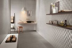 Three-dimensional ceramic wall tiles for designer bathrooms