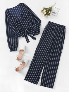 Shop Single Breasted Striped Blouse With Pants online. SHEIN offers Single Breasted Striped Blouse With Pants & more to fit your fashionable needs. Girls Fashion Clothes, Teen Fashion Outfits, Hijab Fashion, Fashion News, Girl Fashion, Girl Outfits, Fashion Dresses, Cute Casual Outfits, Summer Outfits
