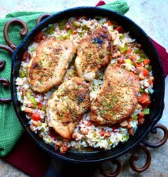 ONE Pan Pork Chops and Rice! So easy and ready in under 30 minutes!!