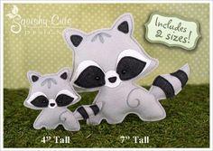 Raccoon sewing pattern - woodland ornament or mobile plushie - felt raccoon stuffed animal pattern - nursery decor - fun kids sewing project