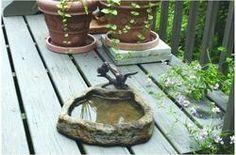Two Birds with Basin Bronze Garden Sculpture:Lava $