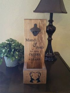 Rustic Wall Mount Bottle Opener and Cap Catcher, Personalized Hunter Anniversary Wood Gift for Him  Did you know our Bottle Openers make GREAT