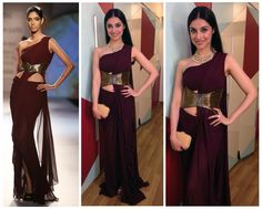 Director, Divya Khosla Kumar wore our Wine Saree Gown with Bugle Beads Embroidered Corset Belt | 'Wink Of Nyx' - Couture 2014 Collection to Kussh Sinha's Wedding Reception
