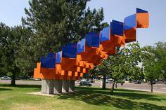 Arts and Venue Denver | Public Art | Denver Public Art Collection | Untitled6  Gerald Cross  Colored Plexiglass and Steel  Auraria Triangle