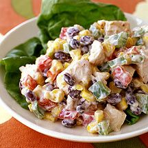 This is a great Weight Watchers Recipe for Tex Mex Chicken Salad! Great to eat with whole wheat tortilla chips too! Love it for lunch . Only thing I did different was cook the chicken in a skillet with taco seasoning and Pam spray . Skinny Recipes, Ww Recipes, Salad Recipes, Chicken Recipes, Cooking Recipes, Healthy Recipes, Recipies, Healthy Chicken, Cookbook Recipes